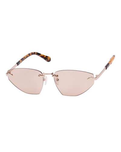 Heartache Rimless Cat-Eye Sunglasses