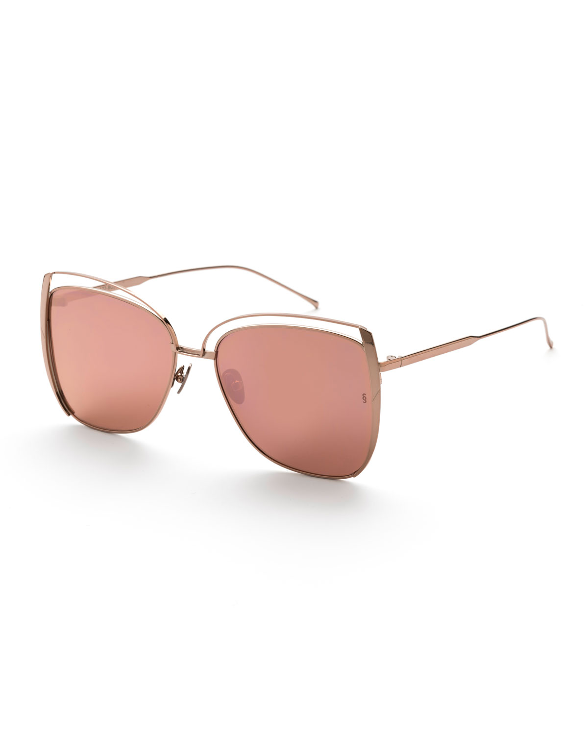 SUNDAY SOMEWHERE Poppy Cutout Titanium Square Sunglasses in Rose Gold