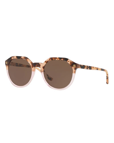 Round Two-Tone Acetate Sunglasses