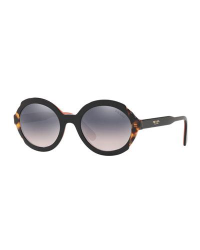 Round Mirrored Mixed Acetate Sunglasses