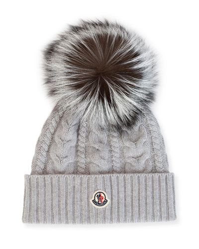 ee14655cd73 Quick Look. Moncler · Cable-Knit Beanie Hat w  Fox Fur. Available in Gray