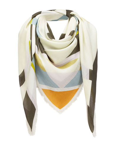 Striped Anagram-Print Fringe Scarf