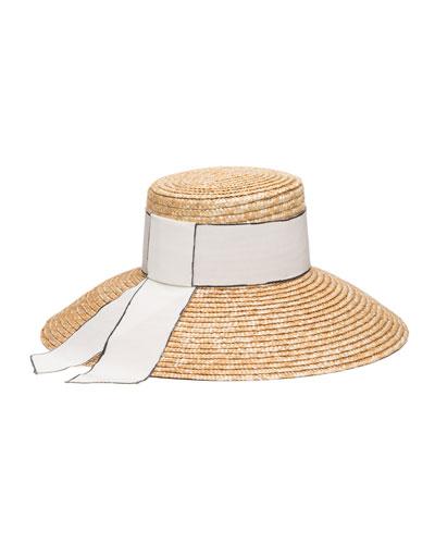 Annabelle Woven Straw Sun Hat w/ Grosgrain Band
