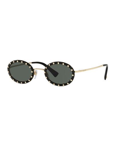 Crystal Embellished Oval Sunglasses