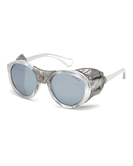 Moncler Round Mirrored Sunglasses w/ Metallic Leather Side Blinders