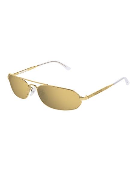 Balenciaga Slim Metal Mirrored Rectangle Sunglasses