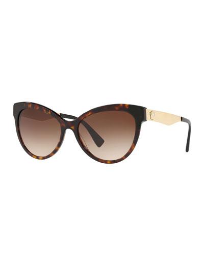 Gradient Acetate & Metal Cat-Eye Sunglasses