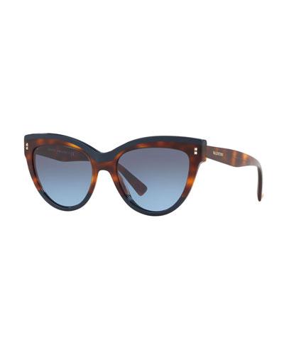Rockstud Rivet Two-Tone Cat-Eye Sunglasses