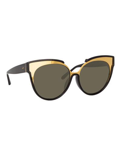 Monochromatic Cat-Eye Sunglasses