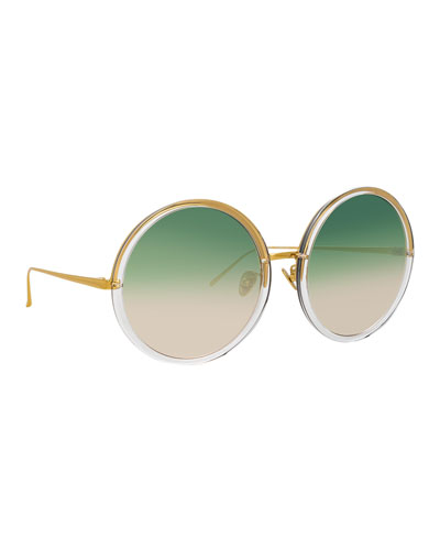 Semi-Rimless Round Gradient Sunglasses