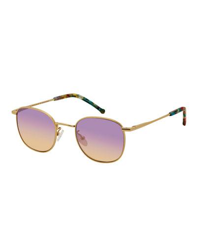 Sammy Round Metal Sunglasses, Gold/Pastel