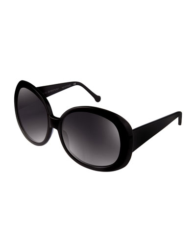 Jackie Chunky Oval Sunglasses, Black