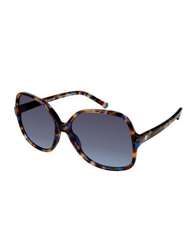 Orifini II Round Gradient Sunglasses, Blue Mosaic