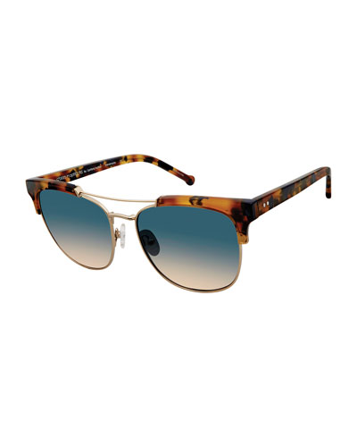 Noho Metal & Plastic Gradient Sunglasses, Tobacco