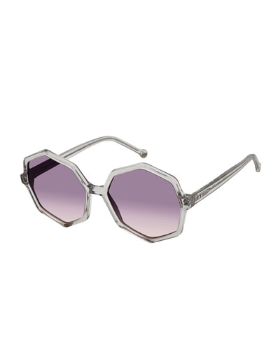 Farrah Octagon Plastic Sunglasses, Gray