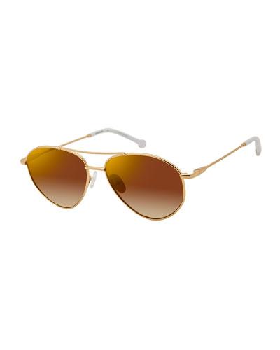 Breezy Metal Mirrored Sunglasses, White Gold
