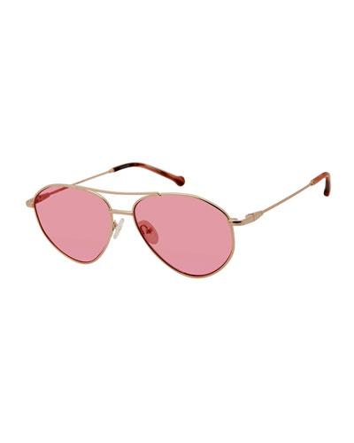 Breezy Metal Monochromatic Sunglasses, Rose Gold