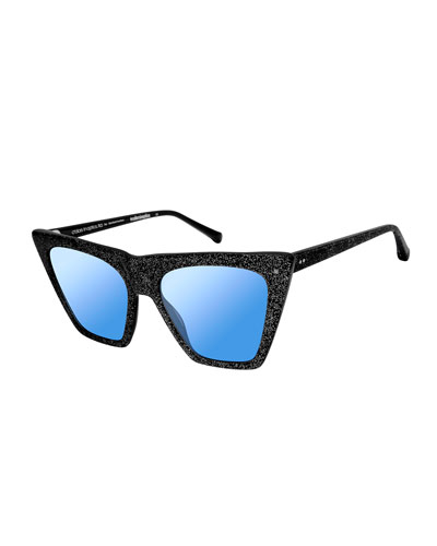 Metropolitan Glittered Cat-Eye Sunglasses, Black Sparkle