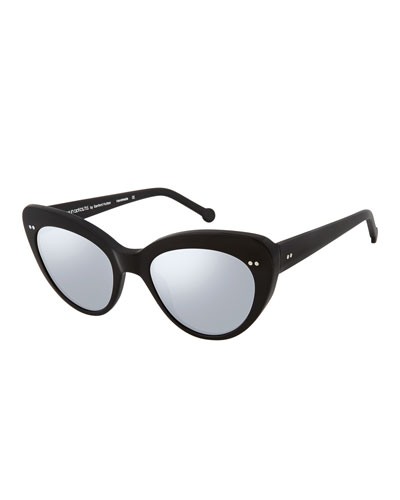 Lolita II Flash Lenses Cat-Eye Sunglasses, Black