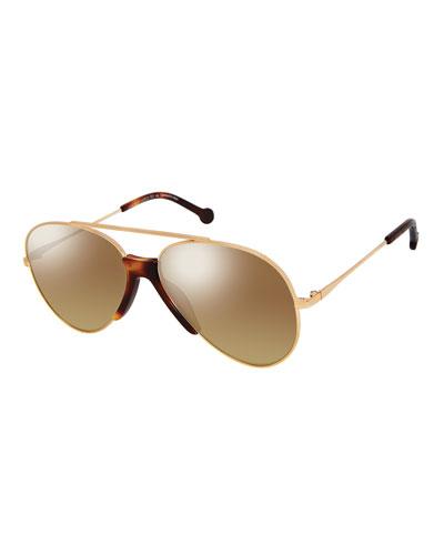 Brasco Aviator Sunglasses w/ Contrast Nose Bridge, Gold