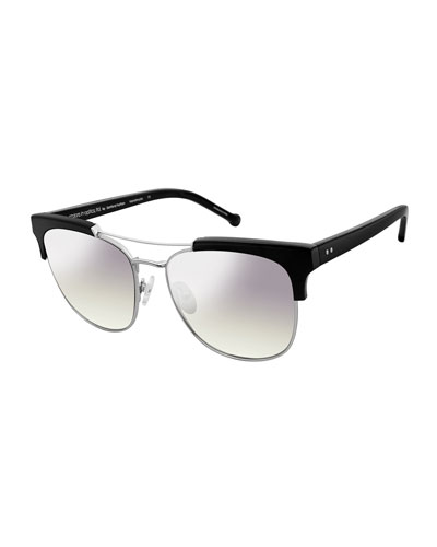 Noho Metal & Plastic Sunglasses, Black