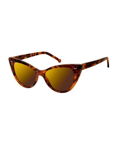 Audrey Marbled Cat-Eye Sunglasses, Blond