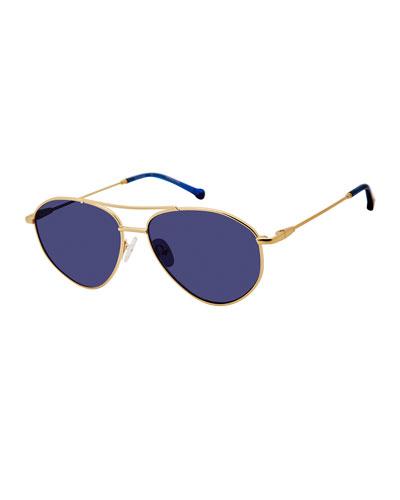 Breezy Metal Monochromatic Sunglasses, Gold/Blue