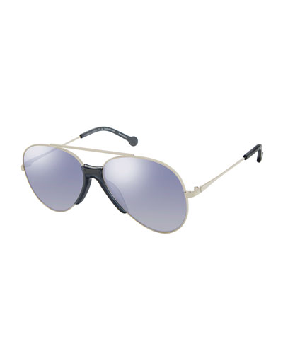 Brasco Aviator Sunglasses w/ Contrast Nose Bridge, Silver