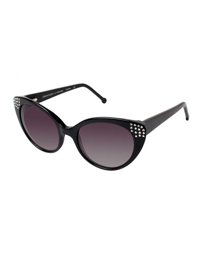 Seema Embellished Cat-Eye Sunglasses, Black