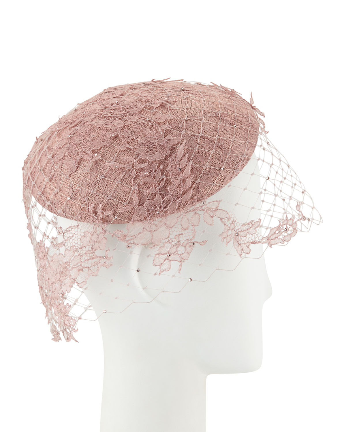 Philip Treacy Accessories HAND-BLOCKED BERET W/ LACE VEILING