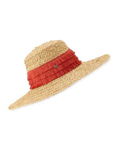 Mar Braided Raffia Sun Hat w/ Fringe Trim