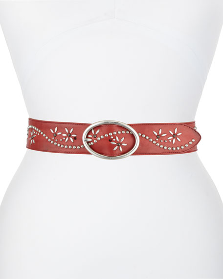 Saint Laurent Flower Studded Leather Belt