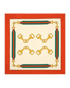 Gucci Silk Twill Interlocking G Stirrups Print Scarf