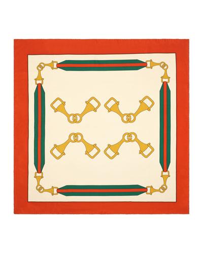 Silk Twill Interlocking G Stirrups Print Scarf