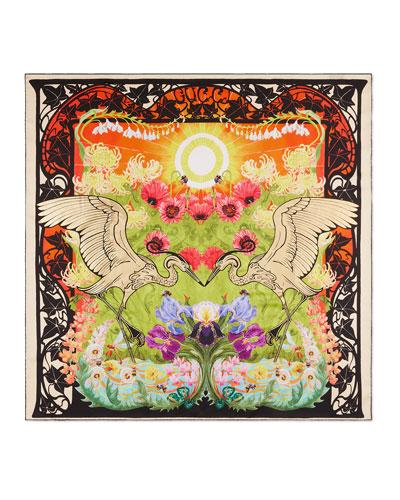 Silk Twill Multicolored Herons Print Scarf