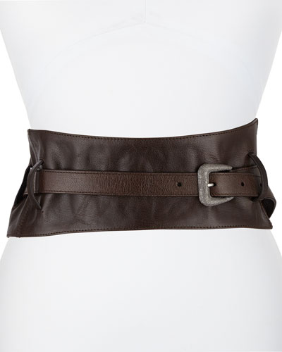 Leather Corset Belt with Diamante Buckle