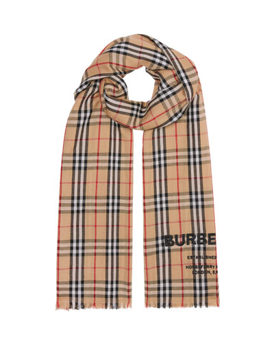 Logo Embroidered Vintage Check Lightweight Cashmere Scarf