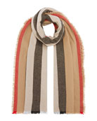 Burberry Icon Stripe Wool-Cashmere Scarf