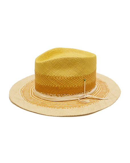 Nick Fouquet Sol Colorblock Straw Fedora Hat
