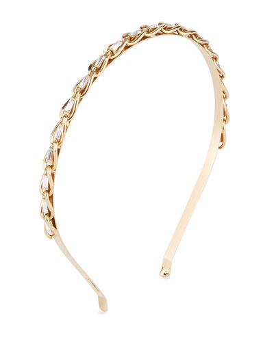 Slim Curb Chain Headband w/ Crystal Trim
