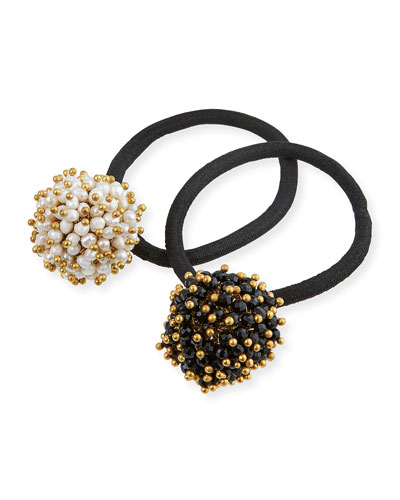 Pompon Faux-Pearl & Onyx Cluster Ponytail Holders, Set of 2