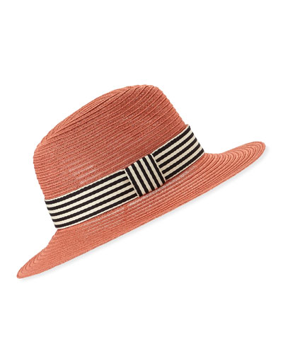 Courtney Packable Fedora Hat w/ Striped Band