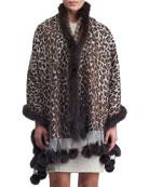 Gorski Double Face Cashmere Leopard-Print Stole w/ Fox