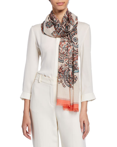 Neutral Paisley Swirl Scarf