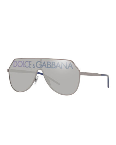 Mirrored Shield Aviator Logo Sunglasses