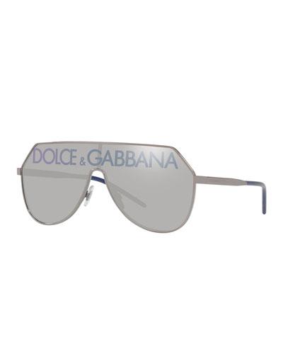 53c302b3003e Quick Look. Dolce & Gabbana · Mirrored Shield Aviator Logo Sunglasses