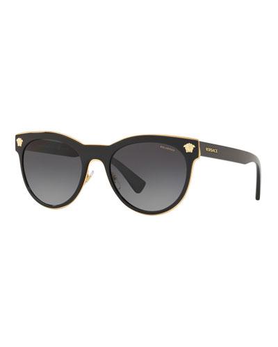 Polarized Round Metal Medusa Head Sunglasses