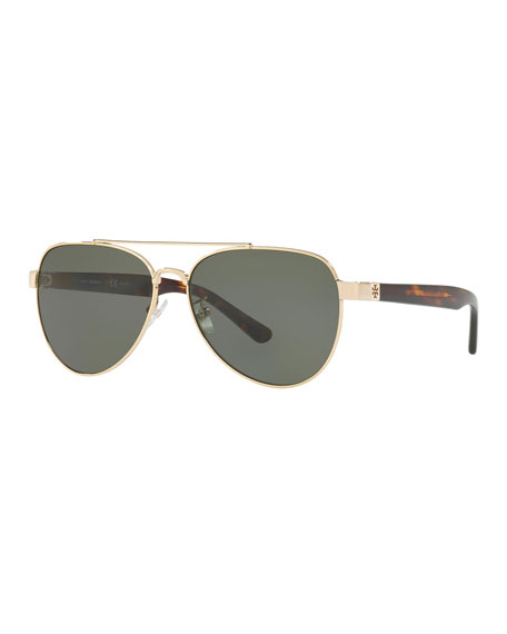 Tory Burch Polarized Metal Aviator Sunglasses
