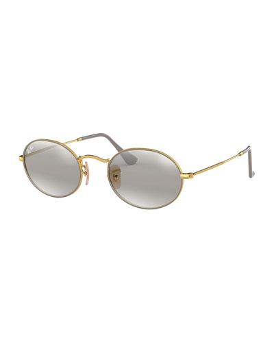Mirrored Oval Metal Sunglasses