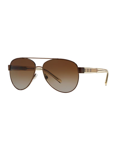 Metal Check-Trim Aviator Sunglasses